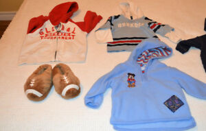 Size 18 month hoodies, football slippers