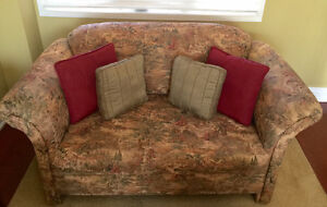 VINTAGE LOVESEAT WITH ARMCHAIR