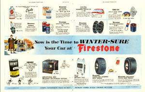 1953 2-page (21 x 14) magazine ad for Firestone Tires