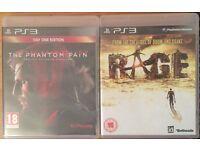 PS3 GAMES. METAL GEAR SOLID:PHANTOM PAIN, RAGE.