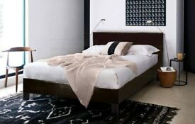 【❋❋SALE PRICE £79 ❋❋ 】FAUX LEATHER UPHOLSTERED BED FRAME IN SINGLE,SMALL DOUBLE,DOUBLE & KING SIZE