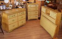 Retro 1950's Wood Bedroom Set Dressers + Double Headboard Bedfra