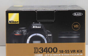 """New""Nikon D3400 DSLR Camera 18-55 mm Lens AF-P-DX Nikkor Black"