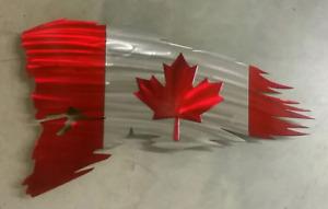 Canadian Flag. . Tattered look.. Metal Art
