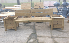 Heavy duty wooden garden bench with planter pots