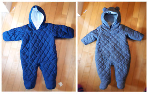 2 x baby Gap one piece suits- one suit 0-3mths, second 3-6 mths