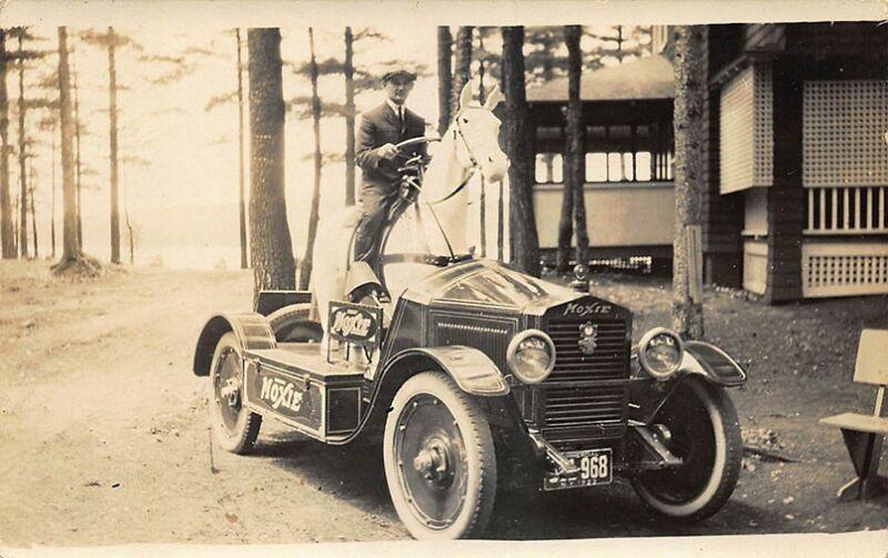 Moxie Automobile Horse Sterring Wheel Man Driver Real Photo Postcard