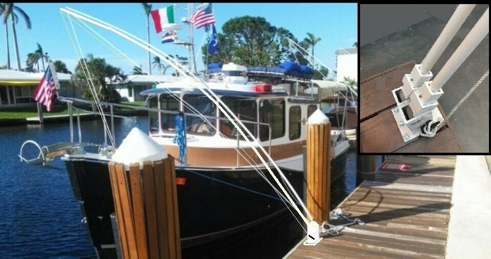 "Mooring Whips for large boats 35' to 65' dual system 4 - 14' x 1"" solid poles."