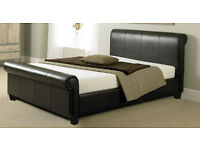 NEW VIENNA BLACK 4FT6 DOUBLE BED LEATHER SLEIGH BED AND MEMORY FOAM MATTRESS