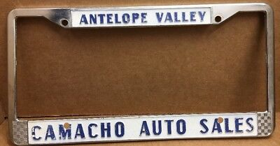 RARE METAL (ANTELOPE VALLEY CA.) CAMACHO AUTO DEALER-LICENSE PLATE FRAME-VINTAGE for sale  Shipping to Canada