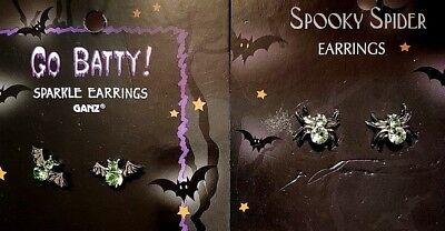 Ganz Halloween Go BATTY & Spooky SPIDER Sparkling Earrings Pierced Stud/Post (Ganz Halloween Jewelry)
