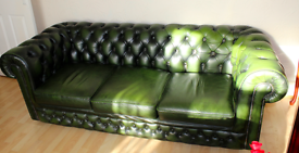 3 seater green leather sofa