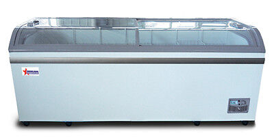 Omcan Xs-700yx 78.74x29.75x32.25-inch Ice Cream Freezer 2 Sliding Glass Doors