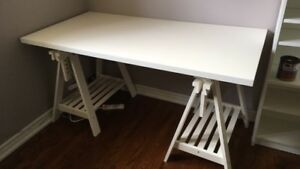 White variable height drafting table