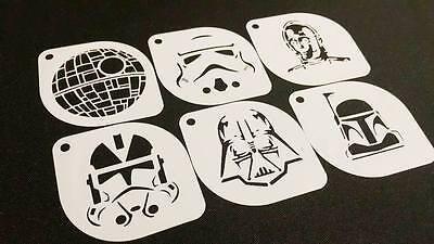 6pcs STAR WARS Style C-3PO Clone Sand Trooper Darth Vader Boba Death Stencils ()