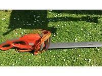 Flymo electric hedge trimmer with long blade