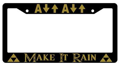Make It Rain Black Plastic License Plate Frame Legend Of Zelda - Make It Plates