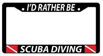 Black License Plate Frame I'D RATHER BE SCUBA DIVING w/FLAGS Auto Accessory (Diving License Plate Frame)