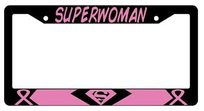 Superwoman PINK Black Plastic License Plate Frame Auto Accessory - Superwoman Pink