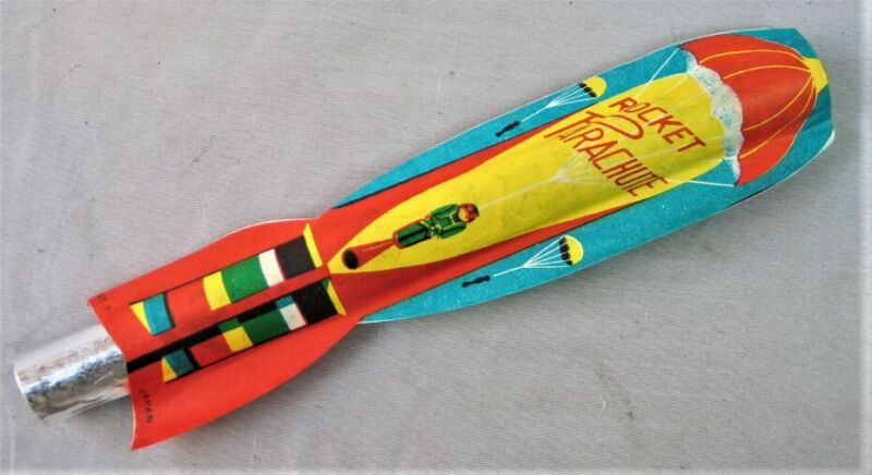 Vintage Paper Rocket Parachute Toy -- Made in Japan