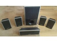 SONY SURROUND SOUND SPEAKERS X 5 PLUS SUB WOOFER ONLY £25 THE LOT