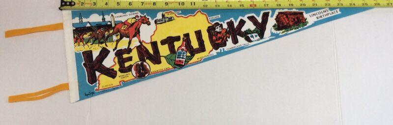 "Vintage 1970's State of Kentucky 25"" Imprint Art Pennant w Various Tourist Sites"