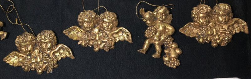 Lot 4 Vintage Victorian Resin Gold Gilded ANGEL WINGS CHERUB Christmas Ornaments