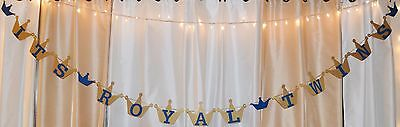 it's royal twins baby shower prince theme royal blue/ gold crowns hanging banner](Prince Theme Decorations)