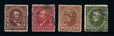 OUTSTANDING GENUINE SCOTT #280 282 283 284 VF USED BUREAU ISSUE SET OF 4 STAMPS