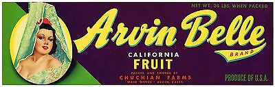 (CRATE LABEL VINTAGE CALIFORNIA GRAPE WINE LUG BOX PIN UP ARVIN BELLE MEXICANA )