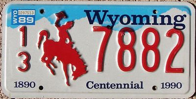 WYOMING Centennial RED BRONCO License Plate - Random County & Numbers - WY