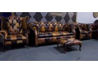 NEW Chesterfield Suite 3 Seater Sofa, Club & Wing Chairs, Footstool in Brown Leather - UK Delivery