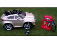 CHILDRENS BMW LICENSED X6 CHAMPAGNE ELECTRIC RIDE ON 4X4 SUV (With free Petrol Pump)
