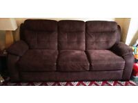 Harvey's brown faux suede 3 and 2 seater sofas