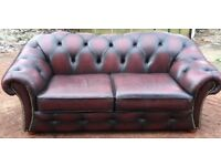 Stunning oxblood leather chesterfield 2 seater sofa