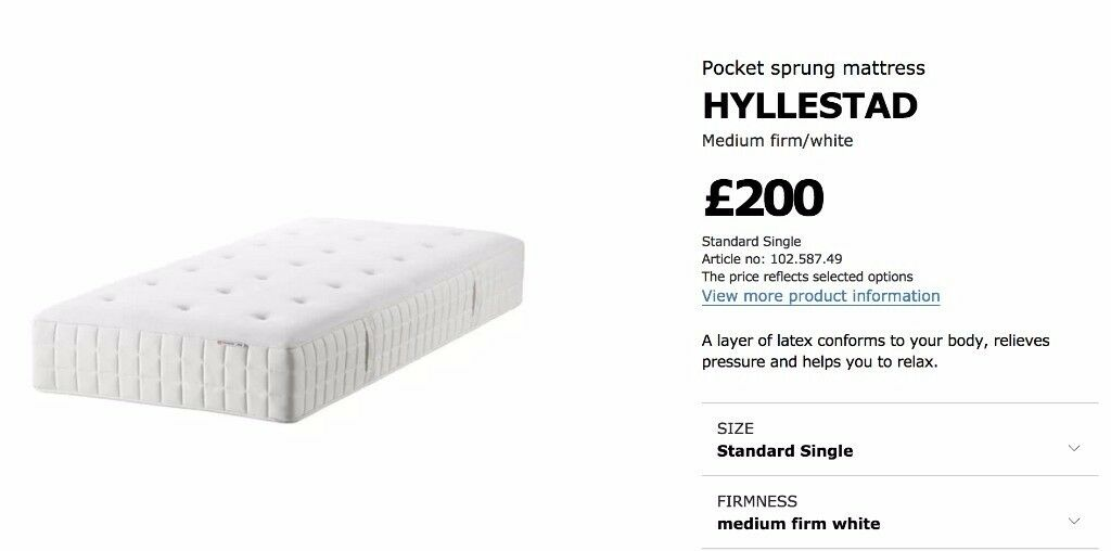 Single, Medium-Firm Pocket Sprung Mattress with Comfort Layer for Sale
