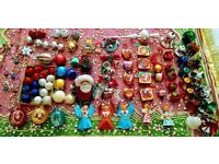 Vintage Christmas Decorations x 107: Angels,Santas,Snowman,Baubles,Bells,Hearts,Boxes & Foil Candles