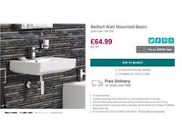 Belfort wall mounted basin from Soak: 580mm wide