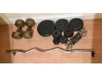 56kg weight plates + Dumbbells + Curl Bar (Free Delivery)