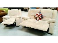 1 year old recliner 2 seater and chair in fantastic condition can get it delivered 07808222995