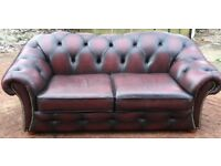 Modern leather sofa suite chesterfield oxblood