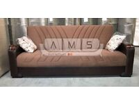 **HIGH QUALITY** BRAND NEW FABRIC SOFA BED WITH STORAGE, 3 SEATER SLEEPER LEATHER SETTEE BLACK/BROWN