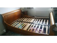 Hopewell's wood sleigh bed frame - double