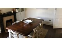 Mahogany Table shabby chic and chapel chairs painted