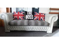 Stunning Chesterfield Unique Leather 3 Seater Sofa Low Back Grey & Tartan UK Delivery