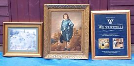 Collection of 9 large glazed picture frames