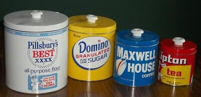 4 Pc Vtg Metal Famous Brands Canister Set Pillsbury Domino Maxwell House Lipton