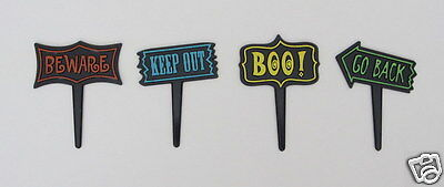 12 Halloween Signs Cup Cake Picks Decor Topper Kid Party Bakery Baking Supply