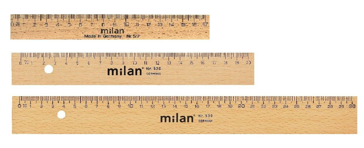 Milan Holz Lineal aus Buche mit Stahleinlage 17 / 20 / 30 cm Länge wählbar