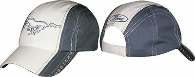NEW RARE FORD MUSTANG PONY WHITE & BLUE/GRAY ADJUSTABLE BASEBALL STYLE HAT CAP!